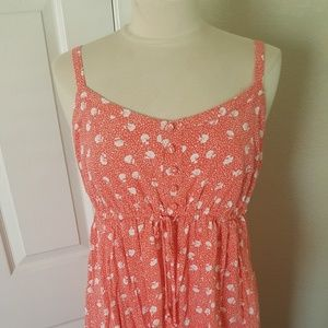 Torrid coral white floral tank dress challis 1x 1